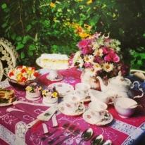 Pink tablecloth and tea set