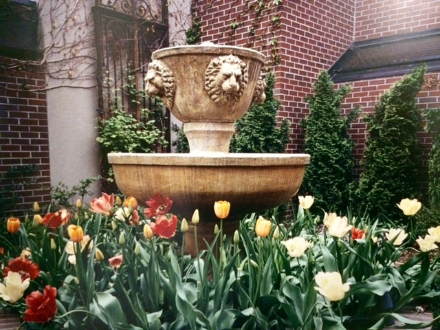 Tulips surround fountain.
